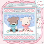 BEARY SPECIAL COUPLE 7.5 Christmas Decoupage & Insert Card Kit