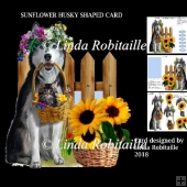 Sunflower Husky Shaped Card