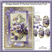 Vintage Basket Of Pansies Pyramid Card Front