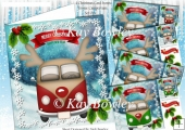 4 Lovely Christmas toon Campervans 8x8 card fronts (set 1)