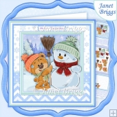 SNOWMAN & BEAR Christmas 8x8 Decoupage & Insert Kit