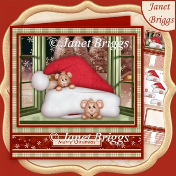 MICE IN SANTA HAT 7.8 Christmas Decoupage & Insert Kit