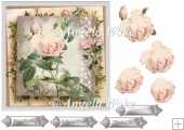 Vintage Rose 7x7 card with decoupage