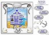 Blue Beach Hut Card Topper With Decoupage For Birthdays etc.