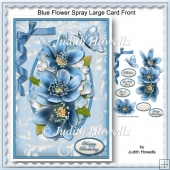 Blue Flower Spray Large Card Front