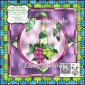 "Grape Vine Wine Stained Glass - 6"" x 6"" Card Topper + Decoupage"