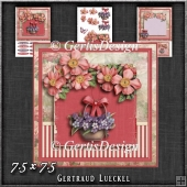 Vintage Wildroses Basket Card Kit Pink Purple 1195