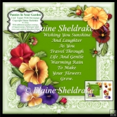 "Pansies In Your Garden - 7"" x 7"" Card Topper With Decoupage"