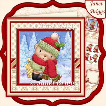 WOOLLY TED Christmas Decoupage & Insert Kit
