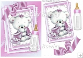 Cute little bear with pink bow on lace stacker card A5