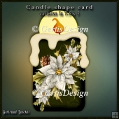 Candle Shape Card Christmas Poinsettia classic green white 695
