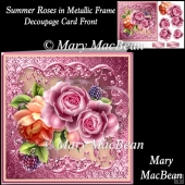 Summer Roses in Metallic Frame Decoupage Card Front