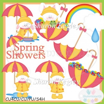 Spring Shower Bunnies Pink Clip Art