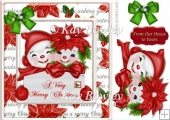 smiling snowmen in red in festive frame with bow