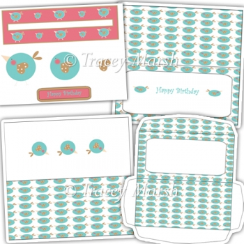 Little Dickie Bird Happy Birthday DL Penny Slider Card Set