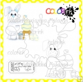 Coloring Eggs Bunny and Sentiment Digital Stamps