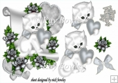 cute kitty lovely silver heart and roses & bow with a scroll