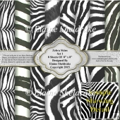 "Black & White Zebra Faux Furs Set 1 Eight 8"" x 8"" Backing Papers"