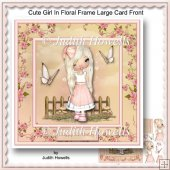 Cute Girl In Floral Frame Large Card Front