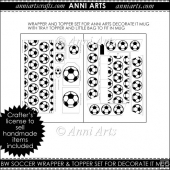 BW Soccer Mug Wrap Set for blank Anni Arts Mugs