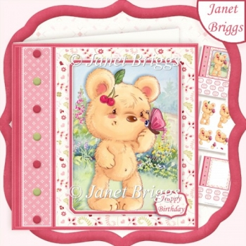 CUTE BEAR & BUTTERFLY 7.5 Decoupage & Insert Kit