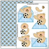 Blue Football Bear PDF Decoupage Download