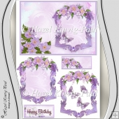 Lovely Lilac Card, Topper, Frame & Embellishments