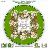 Wild Roses - Plate Card Kit With Plate Stand