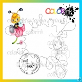 Shy bee and sentiment Digi stamp