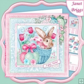 EASTER BUNNY IN BASKET 7.5 Decoupage & Insert Kit
