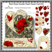 Red Rose Double Heart Easel Card Kit