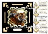 Black & Gold Chinese Tigers 7.5 x 7.5 Card Topper With Decoupage