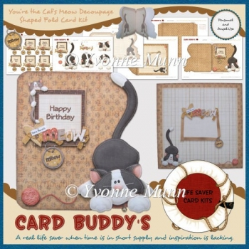 You're the Cat's Meow Decoupage Shaped Fold Card Kit