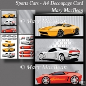 Sports Cars - A4 Decoupage Card