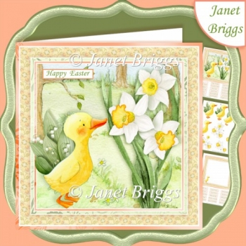 SPRING DUCKLING & DAFFODILS 7.5 Decoupage & Insert Kit