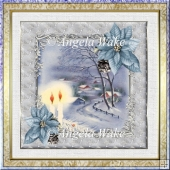 Candles in the snow 7x7 card with decoupage