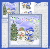 snowpeople carol singer card with decoupage