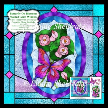 Butterfly On Blossoms Stained Glass Window - Topper + Decoupage