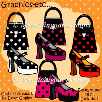 Spotty Shiny Bags N Shoes Clipart Collection 100 Instant Card