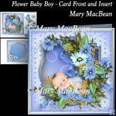 Flower Baby Boy - Card Front and Insert