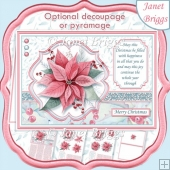PINK POINSETTIA A5 Christmas Decoupage Pyramage & Insert Kit