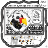 FOOTBALL BLACK & WHITE A5 Decoupage or Pyramage & Insert Kit