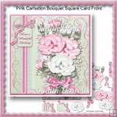 Pink Carnation Bouquet Square Card Front