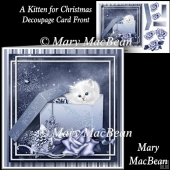 A Kitten For Christmas Decoupage Card Front