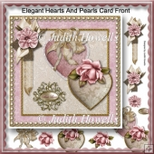 Elegant Hearts And Pearls Card Front