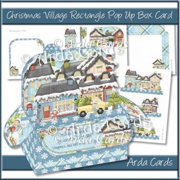 Christmas Village Rectangle Pop Up Box Card
