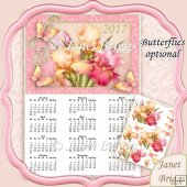 Irises 2017 A4 UK Calendar with Decoupage Kit