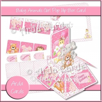 Baby Animals Girl Pop Up Box Card
