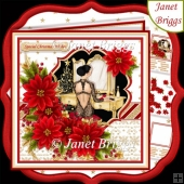 CHRISTMAS POINSETTIA & ELEGANT LADY 7.5 Decoupage & Insert Kit