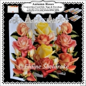 Autumn Roses - Concertina Card Kit & Greetings Tags + Envelope